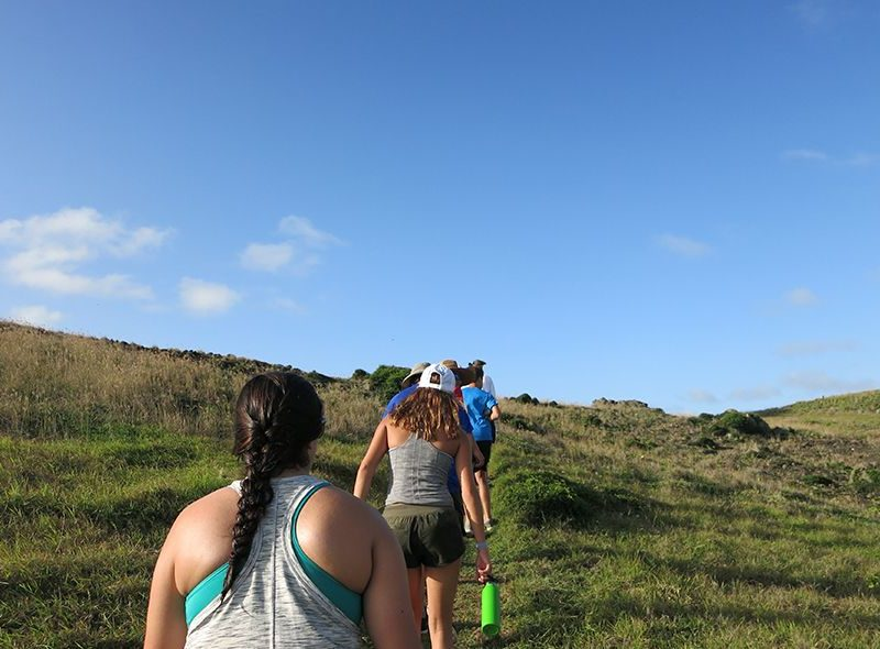 Students on hike in St Barths on Caribbean summer camp