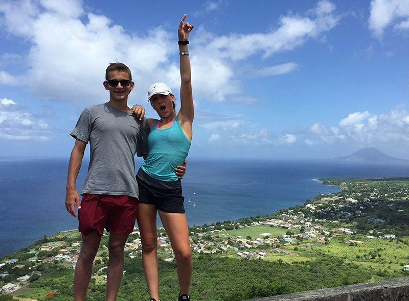 Teens at top on St Kitts hike on Broadreach Caribbean